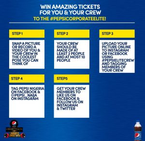 pepsi 5 steps to win tickets